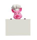 3d cocinero Pig con el tablero blanco Fotografía de archivo