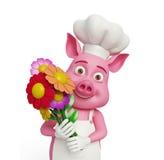 3d cocinero Pig con las flores Imagenes de archivo