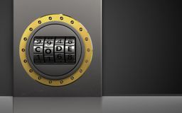 3d code dial metal box. 3d illustration of metal box with code dial over black background Stock Photos