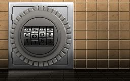 3d code dial metal safe. 3d illustration of metal safe with code dial over golden wall background Stock Photo