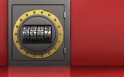 3d code dial metal safe. 3d illustration of metal safe with code dial over red background Stock Image