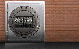 3d code dial metal safe. 3d illustration of metal safe with code dial over red bricks background Royalty Free Stock Photo