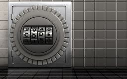 3d code dial metal safe. 3d illustration of metal safe with code dial over steel wall background Stock Photo