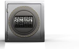 3d code dial metal safe. 3d illustration of metal safe with code dial over white background Royalty Free Stock Image