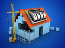 3d code lock dial. 3d illustration of block house over blue background with code lock dial and construction site Stock Images