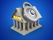 3d code lock. 3d illustration of Bank over blue background with code lock Royalty Free Stock Image