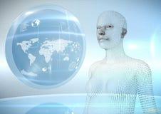 3D codice binario a forma di femminile AI contro il globo ed i chiarori Immagine Stock