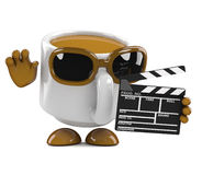 3d Coffe cup makes a movie Royalty Free Stock Photo