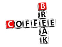 3D Coffee Break Crossword. On white background Royalty Free Stock Photos