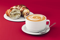 3d coffee and croissant Stock Photo