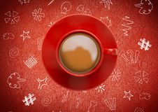3D Coffee cup against red background with  graphic drawings. Digital composite of 3D Coffee cup against red background with  graphic drawings Royalty Free Stock Image