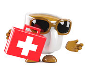 3d Coffee cup arrives with first aid Royalty Free Stock Image