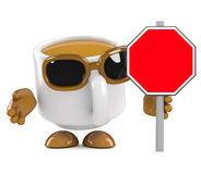 3d Coffee cup with a blank road sign Stock Photos
