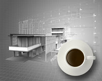 3d coffee cup on engineer blue print. As concept Stock Photography