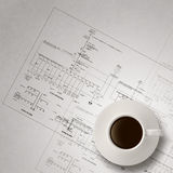 3d coffee cup on engineer blue print Royalty Free Stock Image