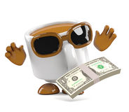 3d Coffee cup finds a wad of US Dollar bills Stock Photography