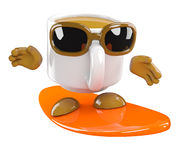 3d Coffee cup goes surfing Royalty Free Stock Photography