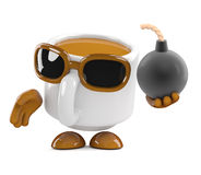 3d Coffee cup has a bomb. 3d render of a coffee cup character holding a bomb Stock Image