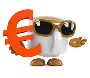3d Coffee cup holds a Euro currency symbol Royalty Free Stock Image