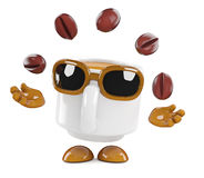 3d Coffee cup juggles coffee beans Royalty Free Stock Photos