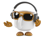 3d Coffee cup listens to headphones Stock Image