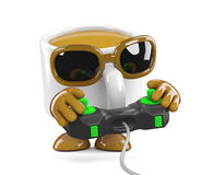 3d Coffee cup playing videogames Stock Photography