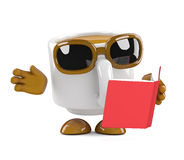 3d Coffee cup is reading a book Stock Image
