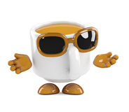 3d Coffee cup shrugs Royalty Free Stock Photo