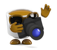 3d Coffee cup takes a photo Royalty Free Stock Photos