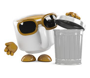 3d Coffee cup throws out the trash Royalty Free Stock Images