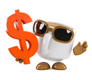 3d Coffee cup with US Dollar symbol Royalty Free Stock Images