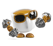 3d Coffee cup works out Royalty Free Stock Photography
