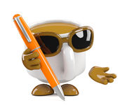 3d Coffee cup writing with a pen Royalty Free Stock Photo