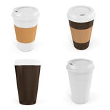 3d Coffee Cups with blank label. On white background Royalty Free Stock Photography
