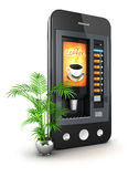 3d coffee machine smartphone Stock Photos