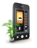3d coffee machine smartphone Stock Photos
