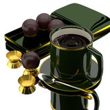 3d coffee set. 3d coffee and chocolate balls Stock Image