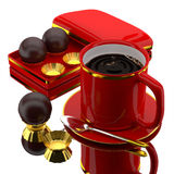 3d coffee set. 3d coffee and chocolate balls Royalty Free Stock Photography