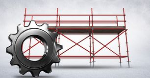 3D cog against scaffolding in white room. Digital composite of 3D cog against scaffolding in white room Royalty Free Stock Photography