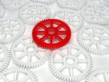 3d cog biała czerwona ikona Zdjęcie Royalty Free