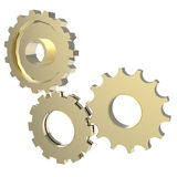 3d cog gear on white background. 3d cog gold gear on white background Royalty Free Stock Images