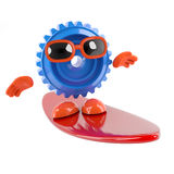 3d Cog goes surfing Stock Image