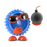 3d Cog has a bomb. 3d render of a cog holding a bomb Royalty Free Stock Photo