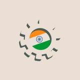 3D cog koło z India flaga ilustracja wektor