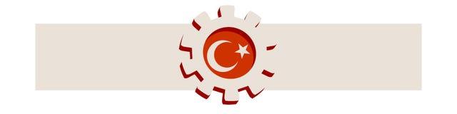 3D cog koło z Turcja flaga ilustracja wektor