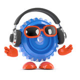 3d Cog listens to headphones Royalty Free Stock Photos