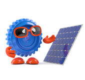 3d Cog looks at a solar panel Stock Photography
