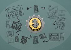 3D cog about money with graphic about blogging Royalty Free Stock Photos