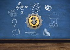 3D cog about money with graphic about economy and technology Stock Images