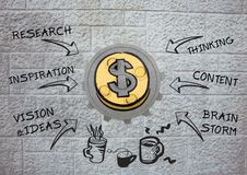 3D cog about money with graphic and wall background Stock Image